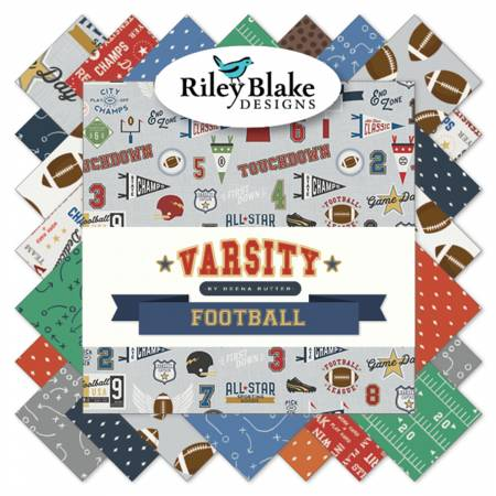 Riley Blake Varsity Football  10in Squares 42pcs