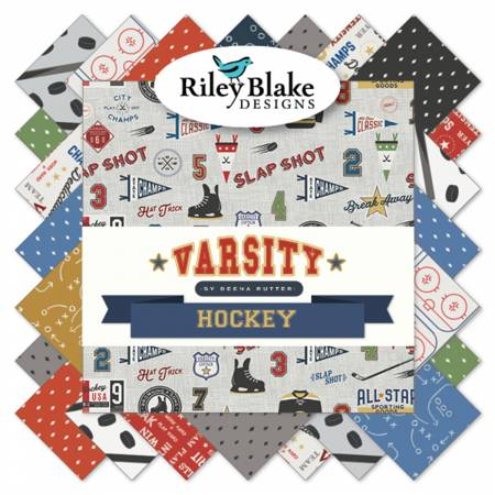 Riley Blake Varsity Hockey  10in Squares 42pcs