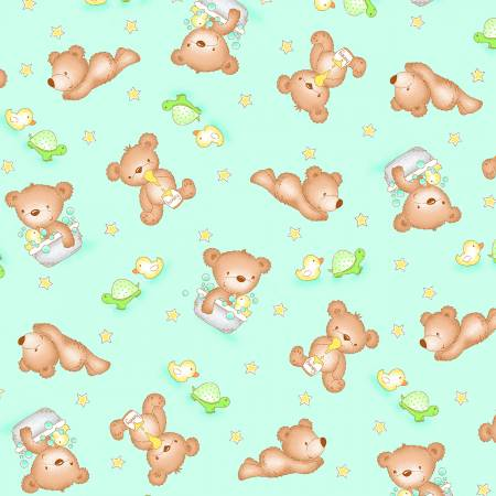 Teal Baby Bear Comfy Flannel
