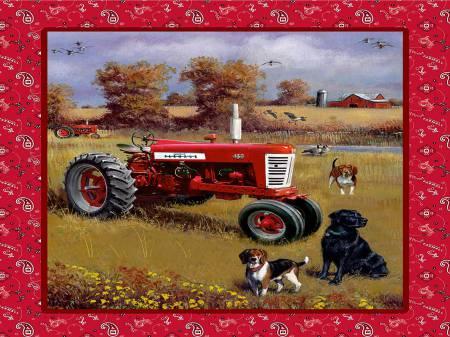 PANEL-Farmall Tractor w/Dogs