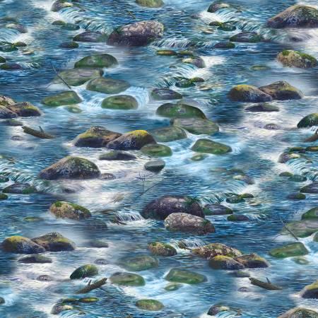Dark Blue River Rocks