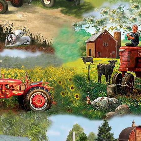 TRACTORS, CHILDREN, ANIMALS SCENE 10176