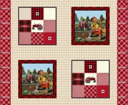 Farmall Plaid Pillow Panel