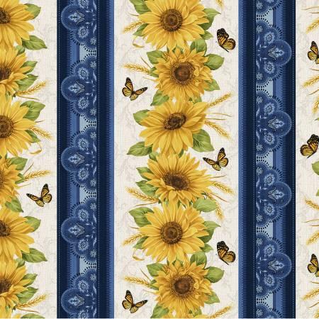 Blue/Multi Accent on Sunflowers Stripe
