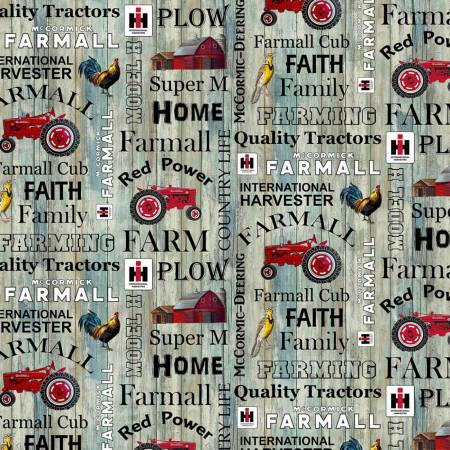 Print Concepts Farmall Hometown Life Words Fabric