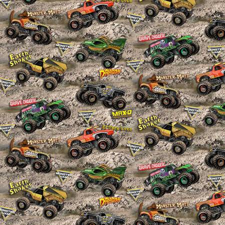 Monster Jam- Tossed Monster Trucks on Dirt Cotton