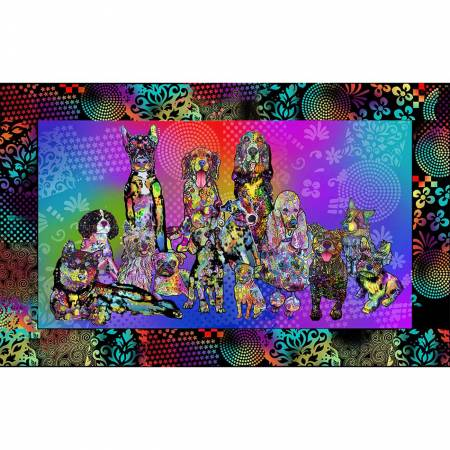 Dog Days - Dog Days Cotton Panel 10269 (Psychedelic Dogs)