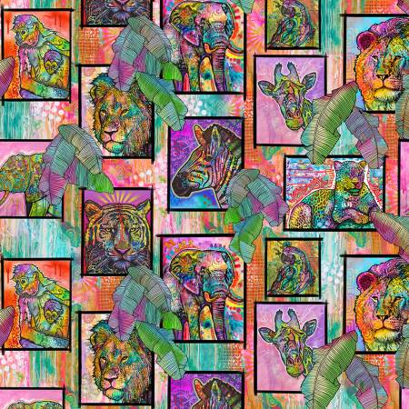 SPECIALTY FABRICS ROOM:  Bright Multi-Colored Jungle Frames:  It's A Jungle Out There by Dean Russo for Sykel Enterprises