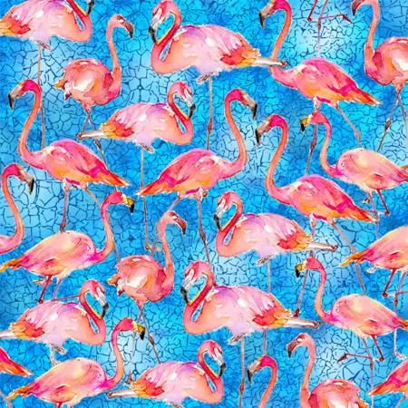 SPECIALTY FABRICS ROOM:  Packed Flamingos on Blue by Sykel Enterprises
