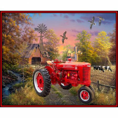 Farmall Country Living Tractor Cotton Panel
