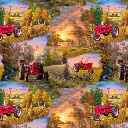 Farmall Country Living Tractor Scenic Allover Cotton