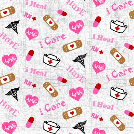 Grey/Pink Nurse Tossed medical fabric by the yard