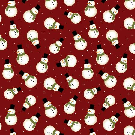 Christmas Crossroads Snowman Flannel Red