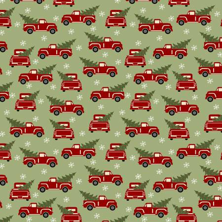Christmas Red Truck Holiday Flannel Green