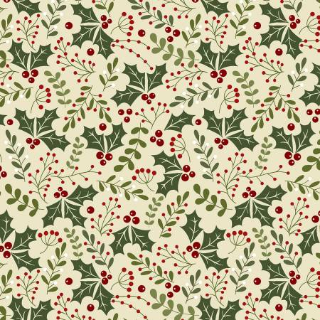 Christmas Holly Daze Flannel Natural