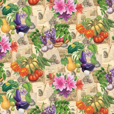 Old Farmers Almanac Floral Vegetables on Sepia
