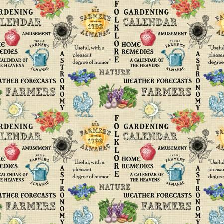 FOUST Old Farmers Almanac Floral Words Beige