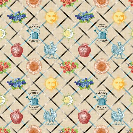 Old Farmers Almanac Floral Tattersall Fabric by the yard