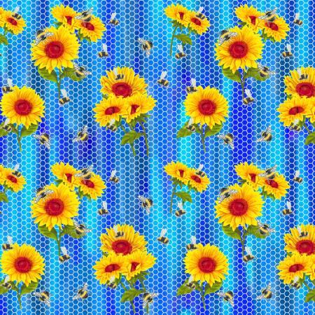 Sunflower on Blue Honeycomb Cotton