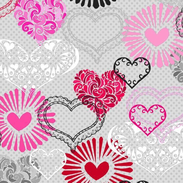 Grey Large Hearts