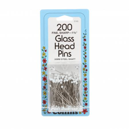 Glass Head Pin Size 23 - 1 3/8in 200ct White
