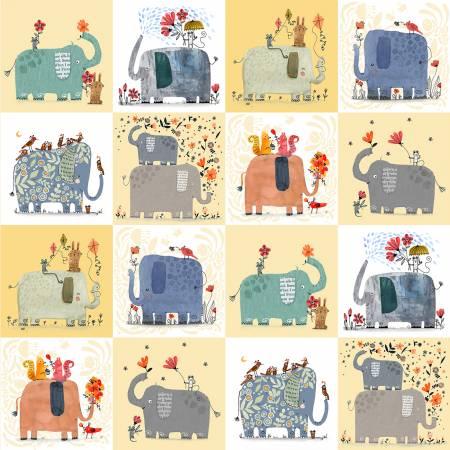 Elephant Joy Panel Yellow (Digital)