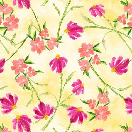 Wilmington Bloom True Tossed Floral - Yellow