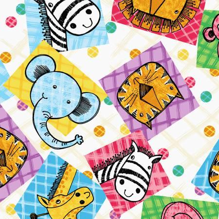 Multi Patchwork Animal Squares Flannel