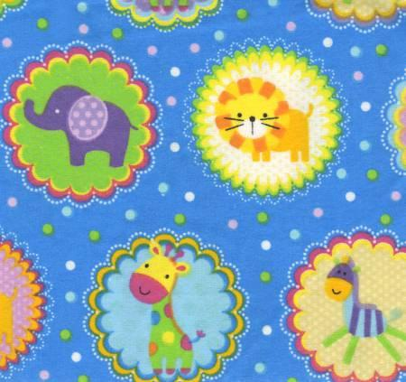 Animals in Medallions Flannel