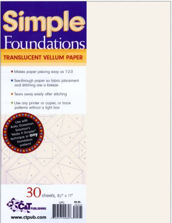 Simple Foundations Translucent Vellum Paper for Paper Piecing