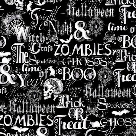 Black Halloween Words with Metallic
