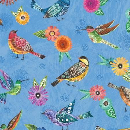 Floral Flight - Blue Birds Allover 11153-457