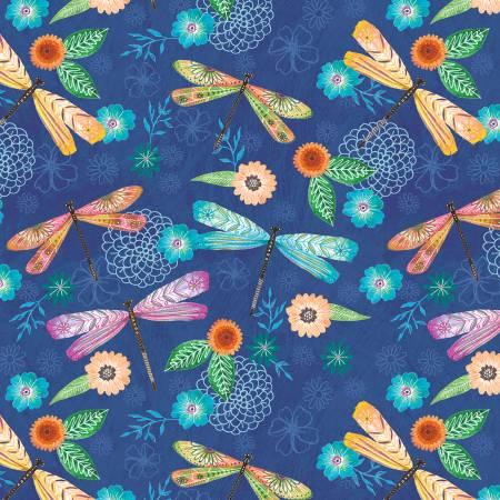 Floral Flight - Blue Dragonfly Allover 11155-478
