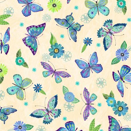 Floral Flight - Cream Butterfly Allover 11157-147
