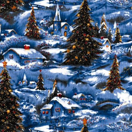 Christmas Classic Winter Village Scenic w/Glitter