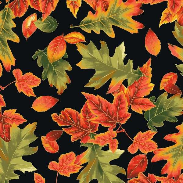 Fabri-Quilt Black Fall Fall Leaves w/Metallic accents FQ-112-26881