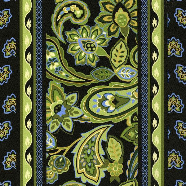 Black with Lime Green Paisley Stripes: Morriston Stripe For Fabri-Quilt Inc.