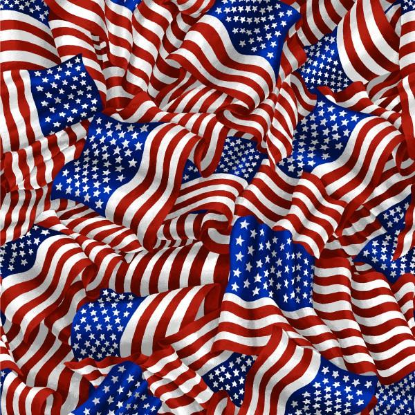 Fabri-Quilt American Pride - White Wavy Flags