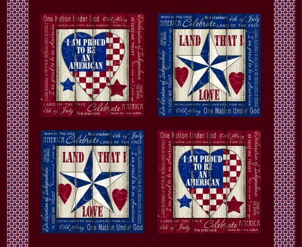 Fabri-Quilt American Pride - Red  panel 36 in