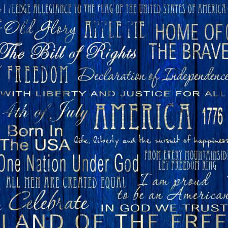 Fabri-Quilt American Pride - Blue Words on Wood