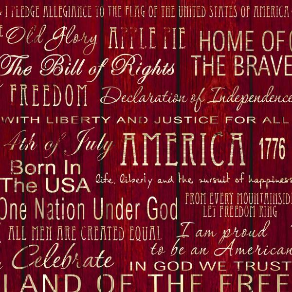 Fabri-Quilt American Pride - Red Words on Wood