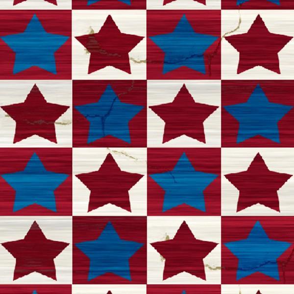 Fabri-Quilt American Pride - Multi Stars in Squares