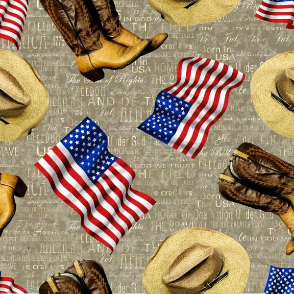 Fabri-Quilt American Pride - Taupe flag hat & boot