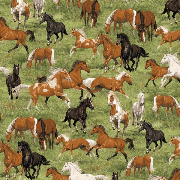 Fabric Traditions - Run Free - Horses in Grass
