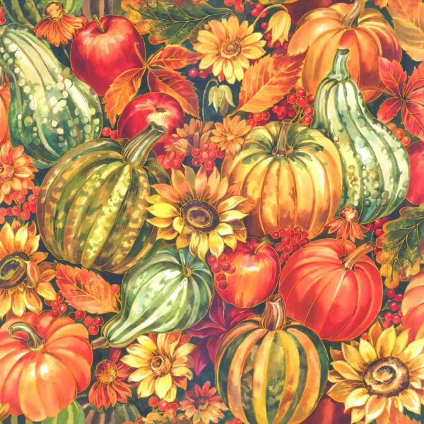 Fabri-Quilt- Multi Packed Gourds & Pumpkins w/Metallic 112-30851