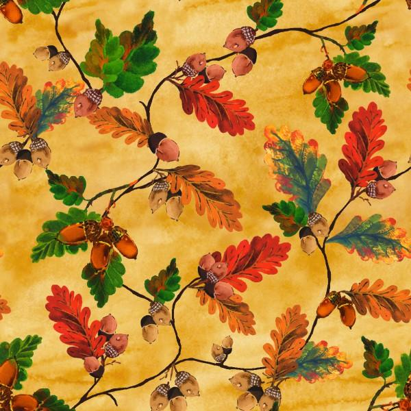Fabri-Quilt - Tan Acorn Fall Leaves with Metallic 112-3891