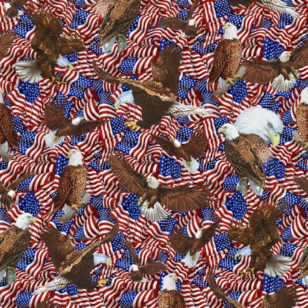 Bald Eagle & American Flags