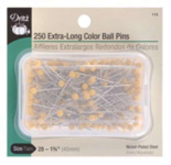 Extra Long Yellow Color Ball Head Pin Size 28 - 1 3/4in 250ct