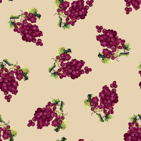 Vintage Ecru Tossed Grape Clusters