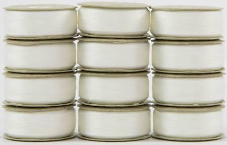 Bobbin L Style Prewound SuperBobs Lace White 12ct